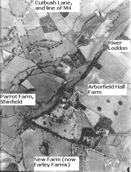 Arborfield Hall Farm, Parrot Farm and the River Loddon in 1946