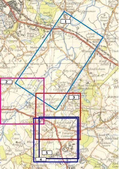 The areas covered by the five photos are shown here