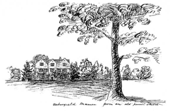 Caption: 'Arborfield Manor - from an old pencil sketch'