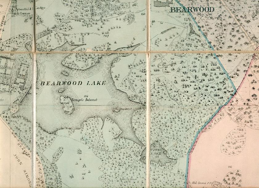 Bearwood Lakes, as shown on the Bearwood Estate Map (courtesy Bearwood College)