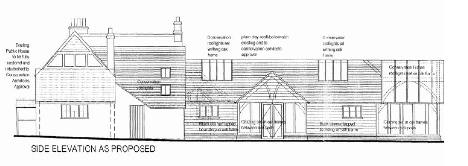 The side elevation from Eversley Road - click for rear elevation and plan