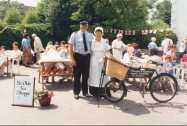 Derek Chapman and Ann Ashton in front of the Village Shop