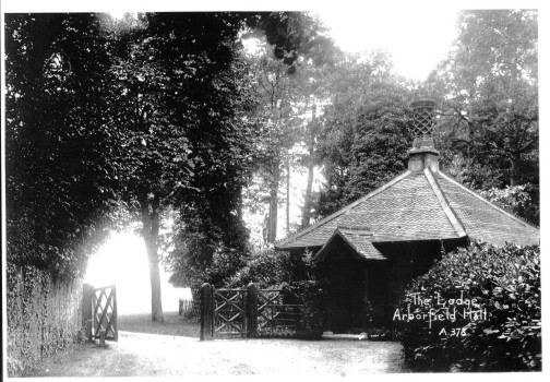 The Lodge at Arborfield Hall. It was demolished in the 1960's when the Reading Road was staightened.
