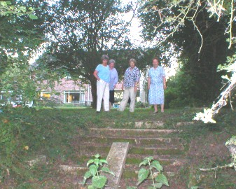 Society members look at the remains of the Hall Steps