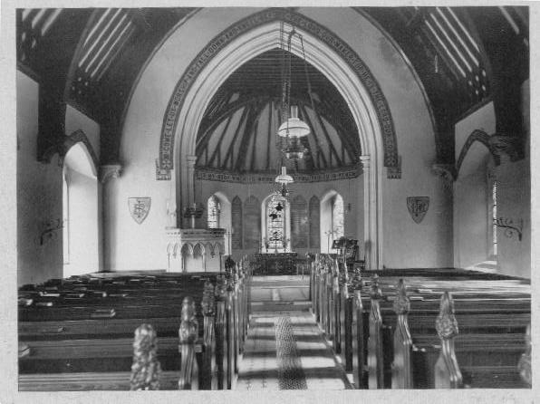 The inside of St. Bartholomew's, Arborfield as it was in 1942