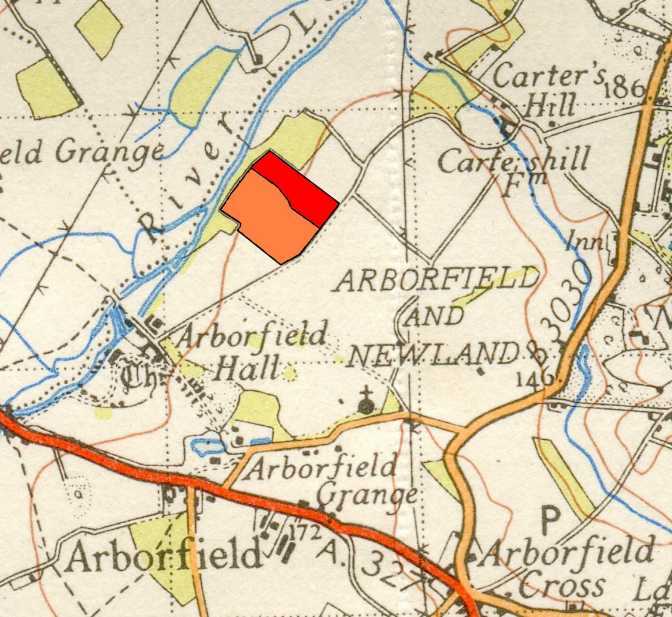 The site of SF29(b) on Arborfield Hall Farm, next to the main track