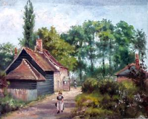 The Bull and Parish Cottages, from an old oil painting