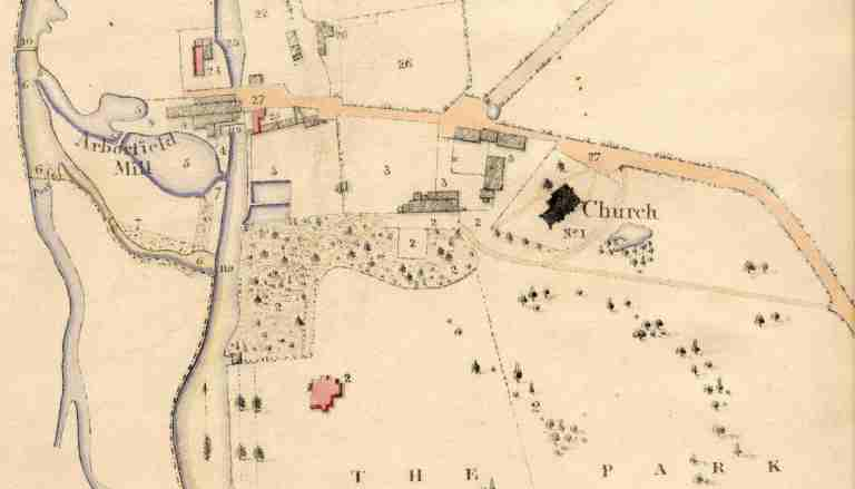 Part of the Tithe Apportionment Map from 1839 showing the location of the old village
