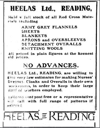 Heeleas advert for Red Cross Uniforms and material