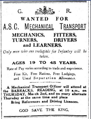 An appeal for mechanic, fitters, etc., for the Army Service Corps