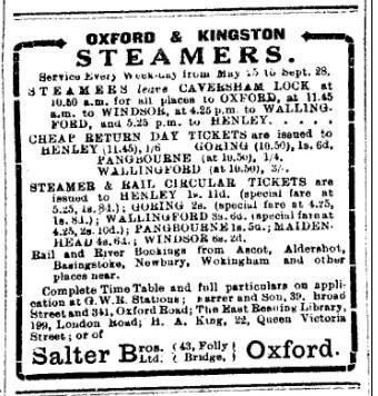 Advert for Salter's Steamers from 1916