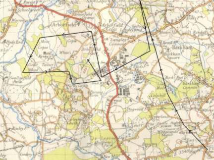 O.S. 1-inch 6th Edition 1947 map showing where the hounds ran