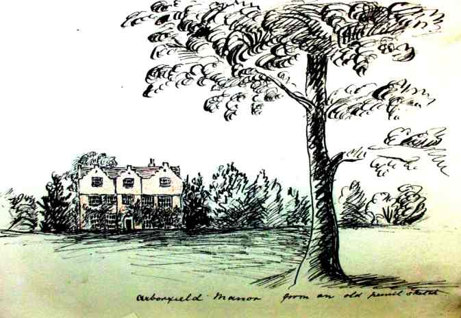 Sketch of Arborfield Manor House by Emma Thoyts