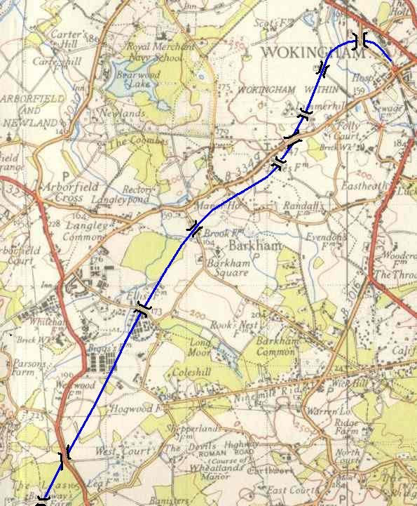 The proposed route through Berkshire, showing location of bridges