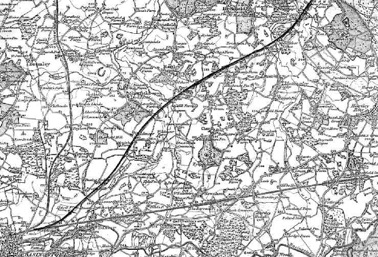 The southern section of the proposed railway showing Basingstoke to Bramshill