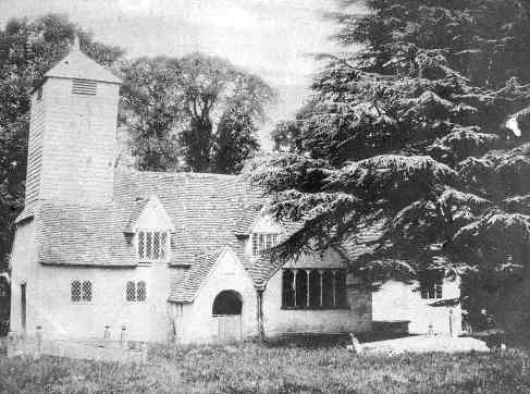 Barkham old church, before being rebuilt on the same site