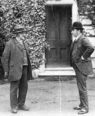 Caleb Jeacocke (left) and John Simonds (right) at the front door of 'Poplars'