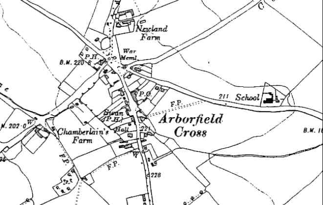 Arborfield Cross in the 1930's from an O.S. 6-inch map - Mr Isaac's field is opposite the School