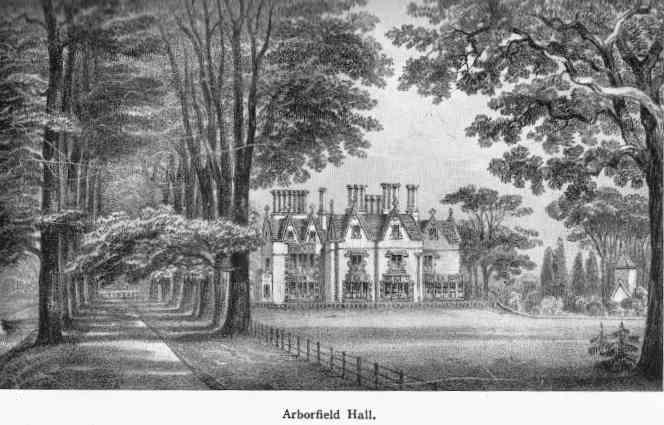 The Victorian Arborfield Hall, with the old church to the right