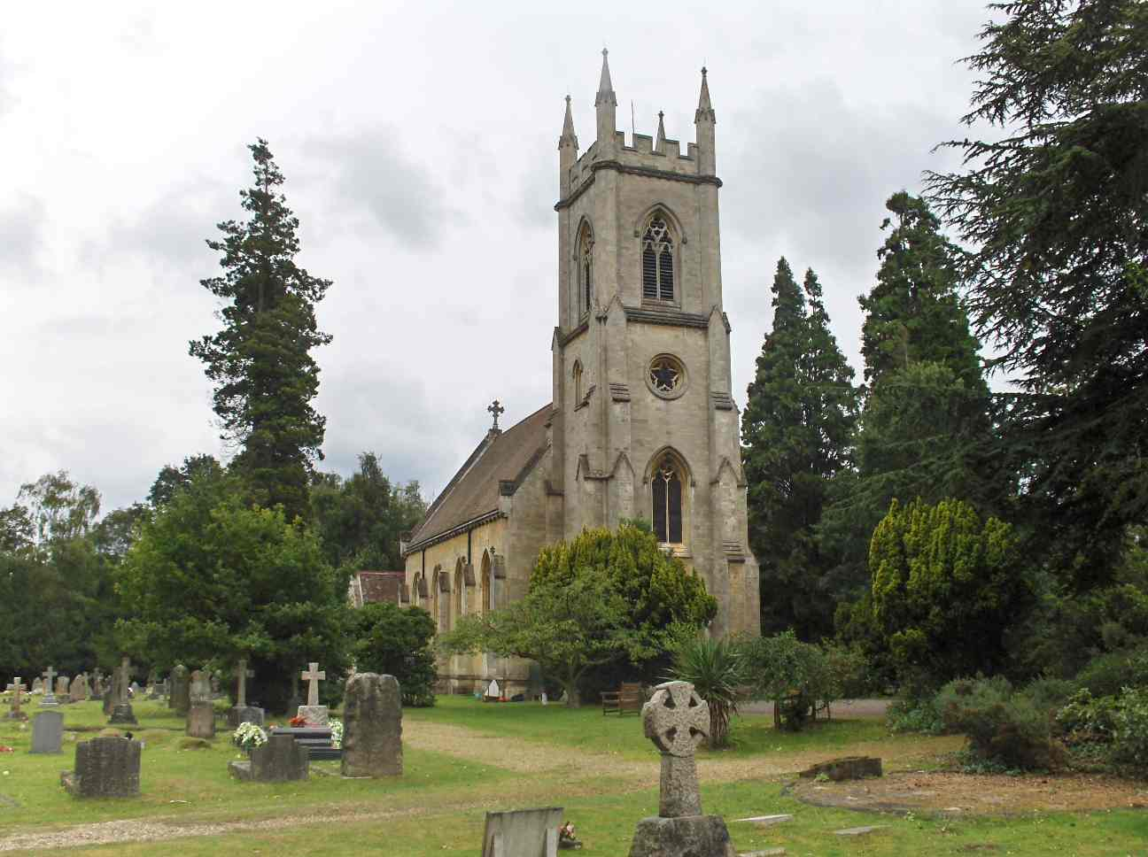 St. Catherine's Church, Bearwood; in the foreground is a memorial to Arthur Walter, died 1910
