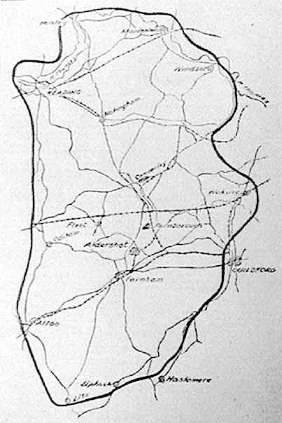'A map showing the area which would be involved in the A.R.P. test black-out on the night of May 6th-7th'
