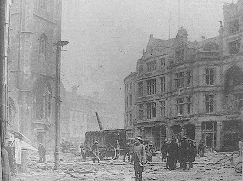 'The bombing of the People's Pantry, at Reading, on February 10th, 1943, when many were killed and injured'