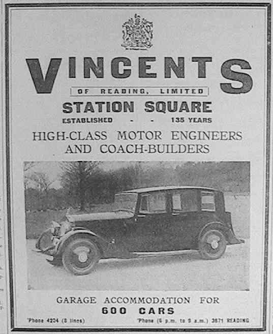 Vincent's advertisement in 'Reading Mercury' from August 10th 1940