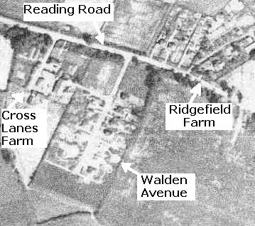 Cross Lanes Farm, Walden Avenue, Reading Road and Ridgefield Poultry Farm from the air, 1946