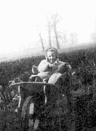 Pam in wheelbarrow, 1941