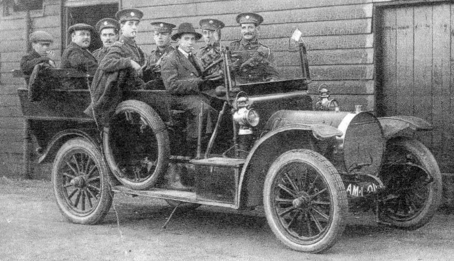 John Bentley at the wheel of a vehicle at the Remount Depot